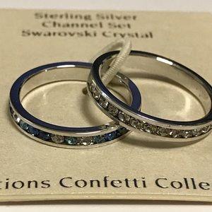 Sterling Silver Channel Set Swarovski Crystal